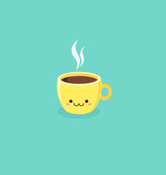 cute kawaii coffee cup on turquoise background vector image