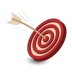 Dart in the target cartoon vector image
