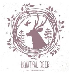 deer silhouette forestry vector image