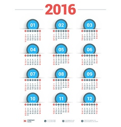 Design Print Template Poster Calendar for 2016 vector image