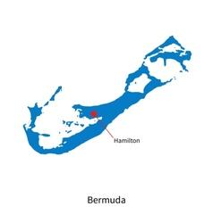 Detailed map bermuda and capital city hamilton vector