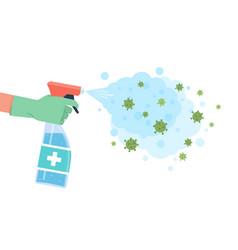 Disinfection coronavirus sprayed disinfectant vector