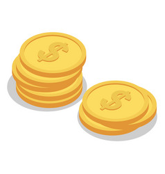 dollar gold coin icon set isometric style vector image