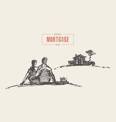 drawn couple dream home mortgage sketch vector image