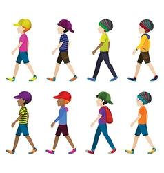 Faceless boys with headgears vector