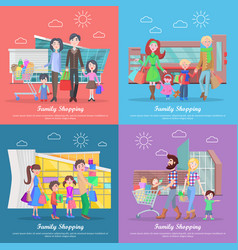 Family shopping web banners set in flat design vector