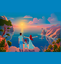 family stand on edge a cliff with a vector image