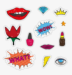 fashion patch badges with lips hearts speech bub vector image