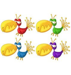 Four colorful birds vector
