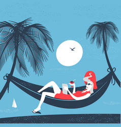 Girl in a hammock on the beach vector
