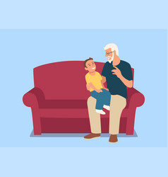 Grandfather and his grandson sitting on sofa vector