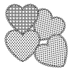 Grayscale figures heart icon vector