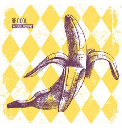 Hand drawn banana on yellow rhombus background vector