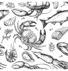 Hand drawn seafood pattern Vintage vector