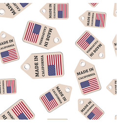 Hang tag made in california sticker with flag vector