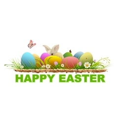 Happy easter Painted eggs and rabbit on green vector
