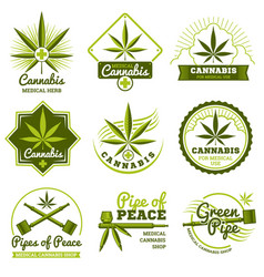 Hashish rastaman hemp cannabis logos and vector