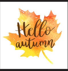 hello autumn hand lettering phrase on orange vector image
