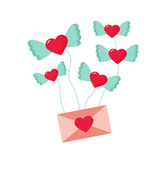 holiday card with flying hearts and envelope vector image