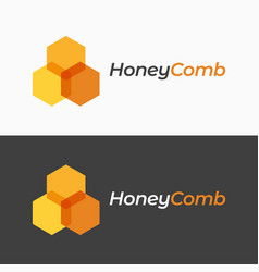 honey comb logo on black and white background vector image