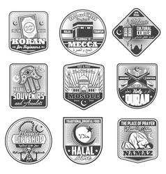 Icons of islam religious symbols vector