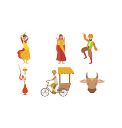 indian people in traditional clothing symbols of vector image