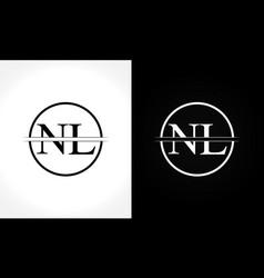 initial monogram letter nl logo design template vector image