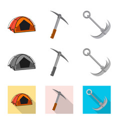 Isolated object mountaineering and peak sign vector
