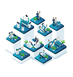 isometric concept family planning in the hospital vector image