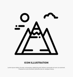 Landscape mountain sun line icon vector