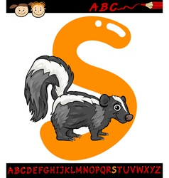 letter s for skunk cartoon vector image