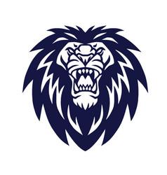 lion head logo roaring mascot icon vector image