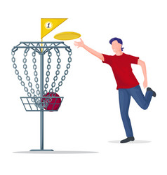 Man throwing a frisbee disc to basket vector