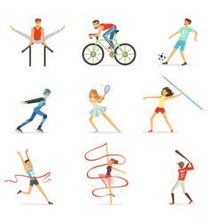 Men and women doing various kinds sports sport vector