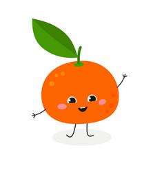 Merry cartoon tangerine vector