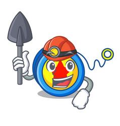 Miner yoyo mascot cartoon style vector