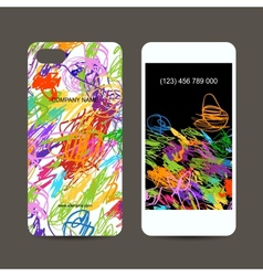 Mobile phone cover back and screen children vector image