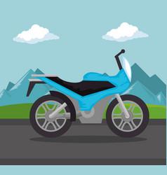 Motorcycle vehicle in the road scene vector