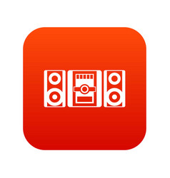 music center icon digital red vector image