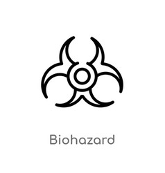 Outline biohazard icon isolated black simple line vector