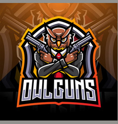Owl gunners esport mascot logo design vector