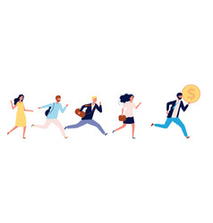people running to money successful businessman vector image