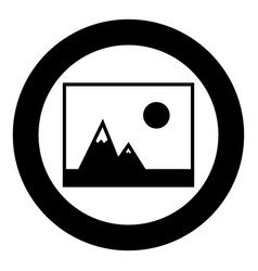 picture of mountains and sun icon the black color vector image