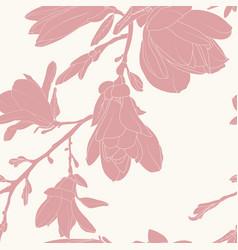 pink magnolia silhouette flowers minimalist vector image
