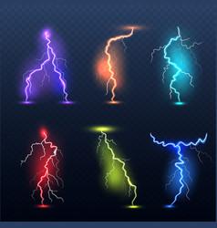 realistic bolt electricity colored symbols danger vector image