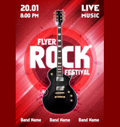 Red rock festival concert poster with guitar vector