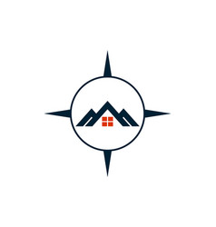 residence compass estate home logo icon vector image