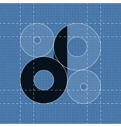 Round engineering font Symbol D vector