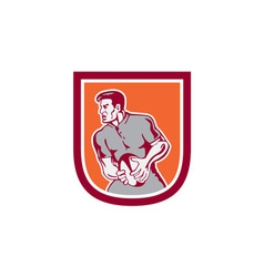 Rugby player passing ball sideview retro vector