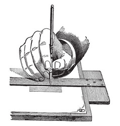 ruling pen adjusted an adjustment screw vector image